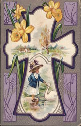 Easter Cross - Girl with Swan and Daffodils