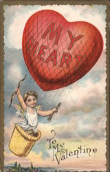 Cupid in Heart-shaped Hot-air Balloon Postcard