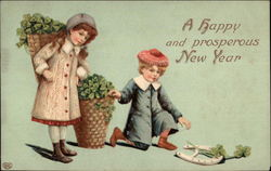 Children with Baskets of Lucky Clovers and a Horseshoe Postcard