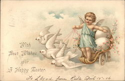With Best Wishes for a Happy Easter - Cherub with Doves