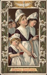 Easter Greetings - Women at Church with Lilies