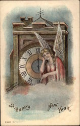 Angel Sitting by a Clock Tower