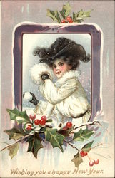Wishing You A Happy New Year - Woman in Snow with Snowball