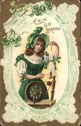 Erin Go Bragh - Girl in Green with Spinning Wheel