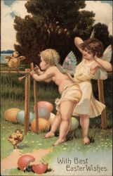 With Best Easter Wishes - Cherubs with Chicks
