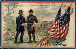 Two Military Generals standing near a Casket and American Flags