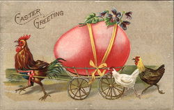 Rooster Pulling a Large Egg in a Cart