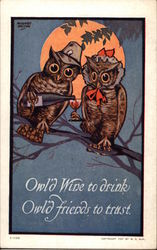 Owl Couple Drinking Wine on a Branch