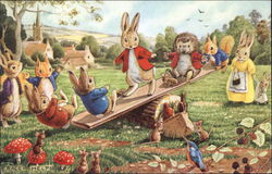 Rabbits and Hedgehog Play on a See-Saw