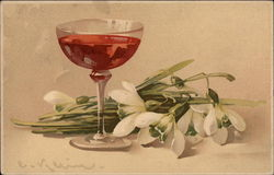 Wine Glass and White Flowers