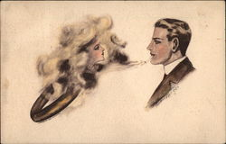 Man Making a Smoke Ring with Woman's Face