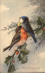 Robin and Blue Bird on Sprig of Holly