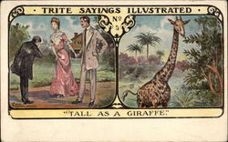 Three People Meet and Scene with Giraffe