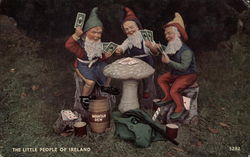 Leprechauns Play Cards Around a Toadstool