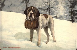 St. Bernard Dog with Whiskey Keg