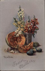 Flowers in Vase surrounded by Fruit
