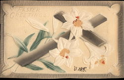 Easter Greetings - Cross with Lilies