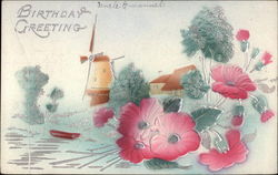 Landscape with Windmill and Pink Flowers