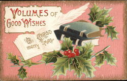 A Merry Christmas - Volumes of Good Wishes - Books and Holly Postcard