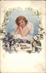 A Happy Easter - Cherub with Flowers