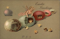 Easter Greetings - Angel with Eggs and Chicks