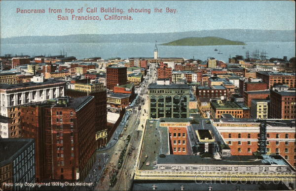 Panorama From Top of Call Building, Showing the Bay San Francisco California