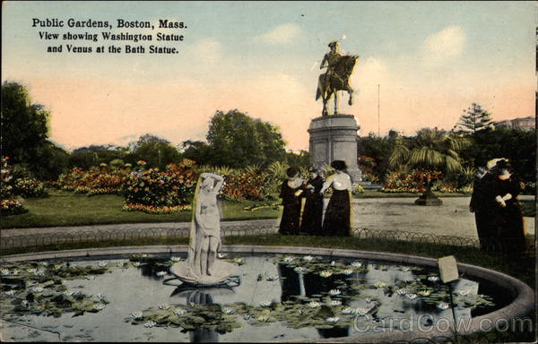 View Showing Washington Statue and Venus at the Bath Statue, Public Gardens Boston Massachusetts