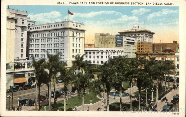 Plaza Park and Portion of Business Section San Diego California