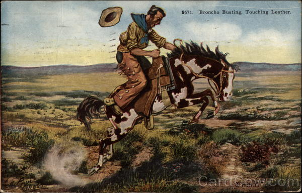 Broncho Busting, Touching Leather Cowboy Western