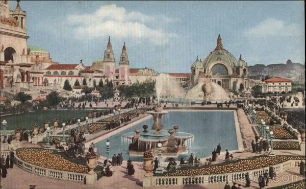 Lagoon and Fountain in South Gardens at the Panama Pacific International Exposition, 1915 San Francisco