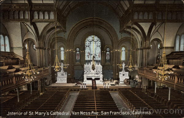 Interior of St. Mary's Cathedral, Van Ness Ave San Francisco California