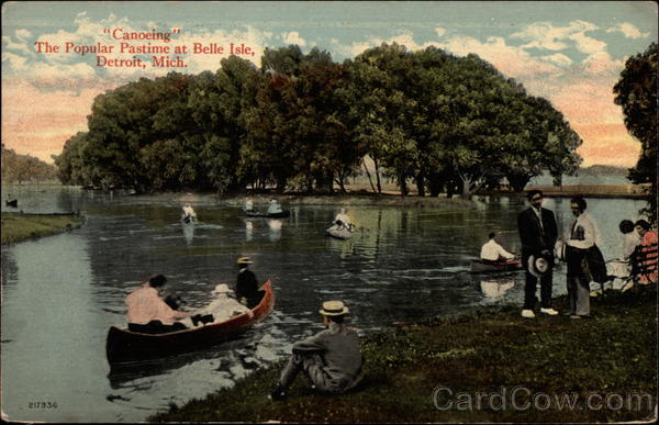 Conoeing, The Popular Pastime at Belle Isle Detroit Michigan