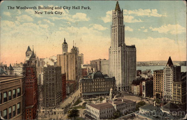 The Woolworth Building and City Hall park New York City