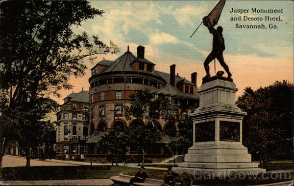 Jasper Monument and Desoto Hotel Savannah Georgia