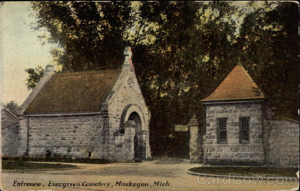 Entrance, Evergreen Cemetery Muskegon Michigan