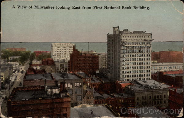 A View of Milwaukee looking east from First National Bank Building Wisconsin