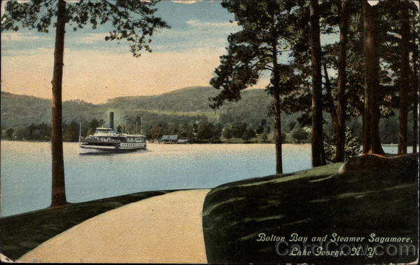 Bolton Bay and Steamer Sagamore Lake George New York