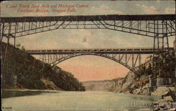 Grand Trunk Steel Arch and Micigan Central Cantilever Bridges Niagara Falls New York