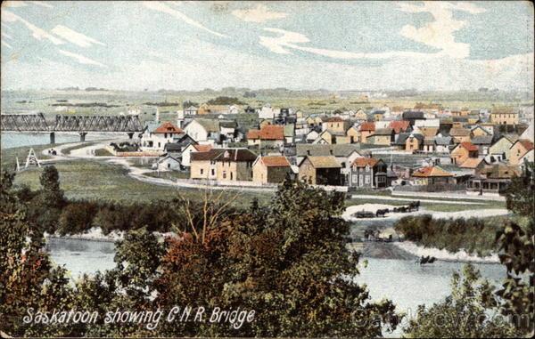 View of Town and C.N.R. Bridge Saskatoon Canada Saskatchewan
