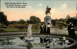 View Showing Washington Statue and Venus at the Bath Statue, Public Gardens