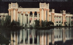 Peristyle Palace at Fine Arts, Illuminated at the Pan-Pac Expo., 1915
