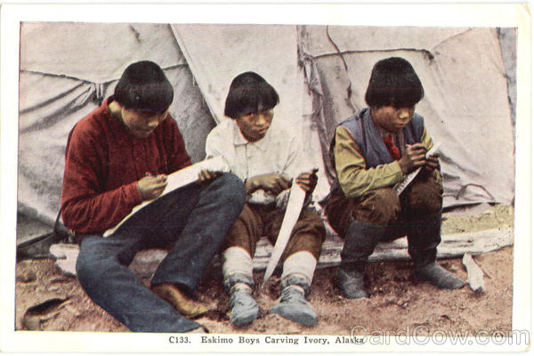 Eskimo Boys Carving Ivory Alaska Native Americana