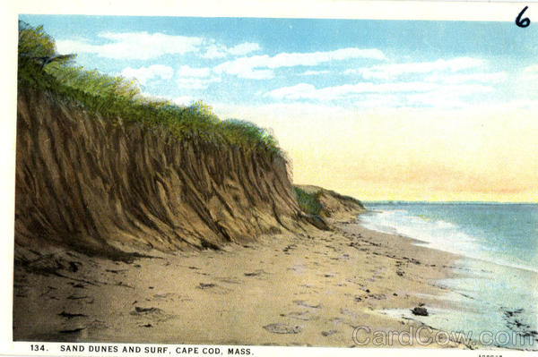 Sand Dunes And Surf Cape Cod Massachusetts