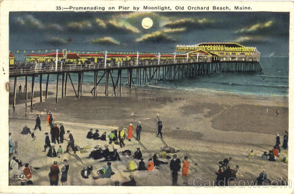 Promenading On Pier By Moonlight Old Orchard Beach Maine