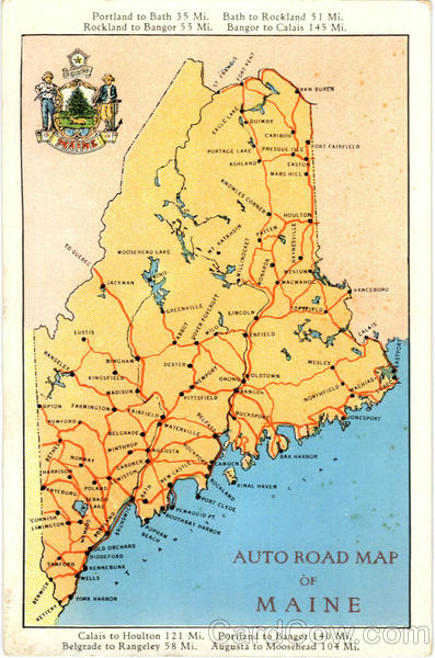 Auto Road Map Of Maine Scenic ME