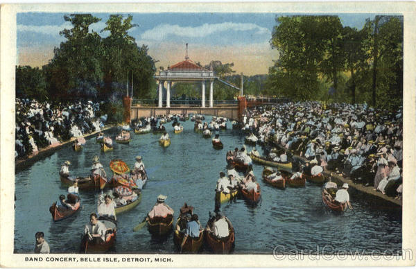 Band Concert, Belle Isle Detroit Michigan Canoes & Rowboats