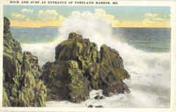 Rock And Surf At Entrance Of Portland Harbor