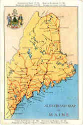 Auto Road Map Of Maine Postcard