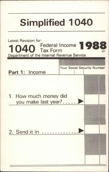 1988 Simplified Taxes on a Postcard