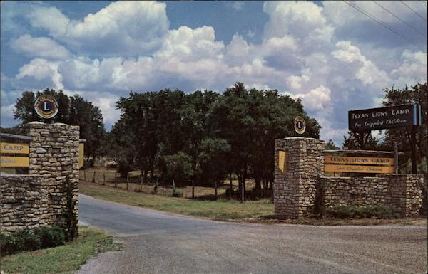 Entrance to the Texas Lion's Camp for Crippled Children Kerrville